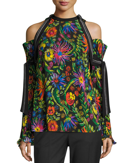 Floral Cold-Shoulder Top w/ Pleated Sleeves, Black/Multicolor