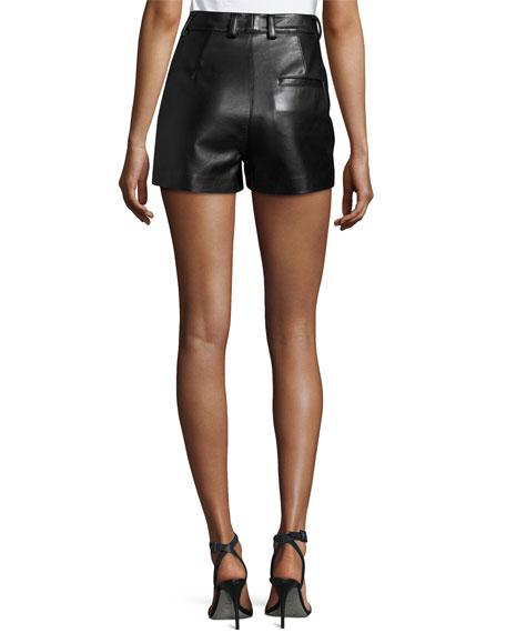 Lamb Leather High-Rise Shorts, Black