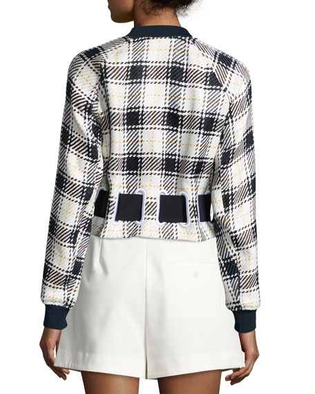 Cropped Surf Plaid Bomber Jacket, White/Midnight/Black