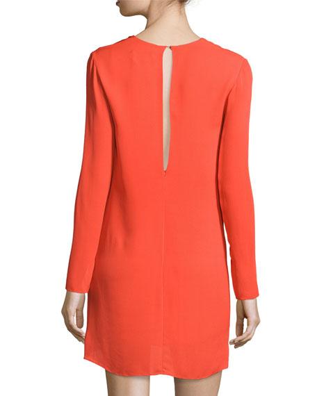 Long-Sleeve Knotted Sheath Dress, Poppy