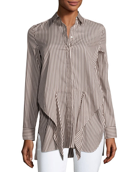 3.1 Phillip Lim Long-Sleeve Striped Tie-Front Top, Ecru/Brown