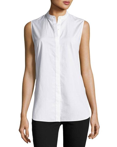 Sleeveless Poplin Twist-Back Top, White