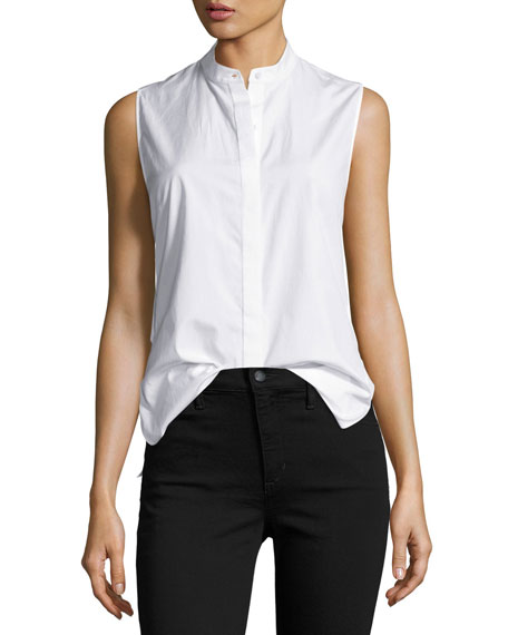 3.1 Phillip Lim Sleeveless Poplin Twist-Back Top, White