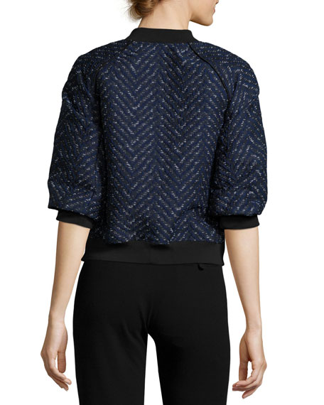 Short-Sleeve Chevron Bomber Jacket, Midnight
