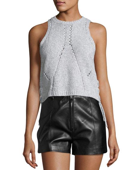 Knit Boxy Basketweave-Stitched Top, Gray Melange