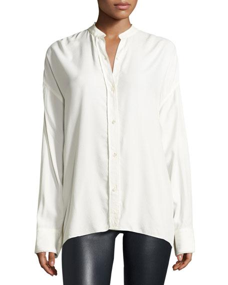 Long-Sleeve Overlap-Back Top, White