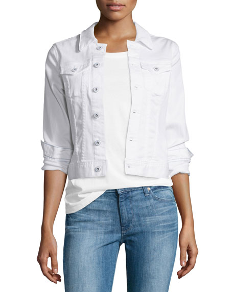 AG Robyn Button-Front Denim Jacket, True White