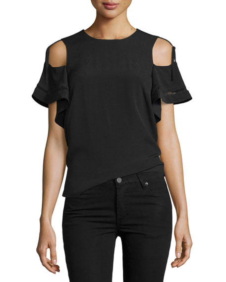 Cold-Shoulder Short-Sleeve Top, Black