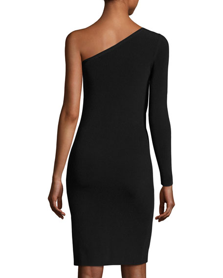 Brittany One-Shoulder Ribbed Stretch Mini Dress, Black