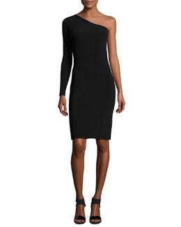 Brittany One-Shoulder Ribbed Stretch Mini Dress, Black
