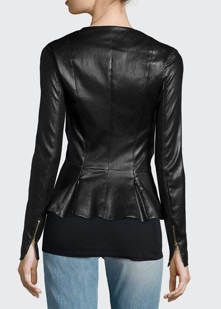 Anasta Zip-Front Leather Jacket, Black