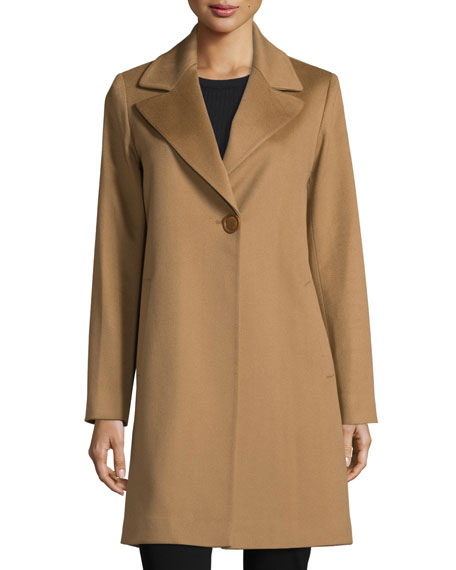 Wool Single-Button Coat, Vicuna