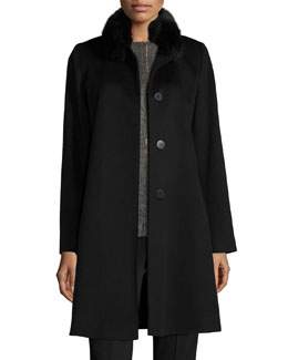 Fox-Trim Wool Button-Front Coat, Black