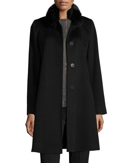 Fleurette Fox-Trim Wool Button-Front Coat, Black