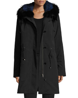 Hooded Fur-Trim Coat w/ Removable Fur Lining, Black/Blue