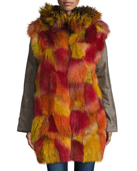 Hooded Zip-Front Jacket w/ Multicolored Fur Trim, Green Multi