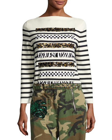 Marc Jacobs Animal-Sequin Striped Sweater, Navy/Off White
