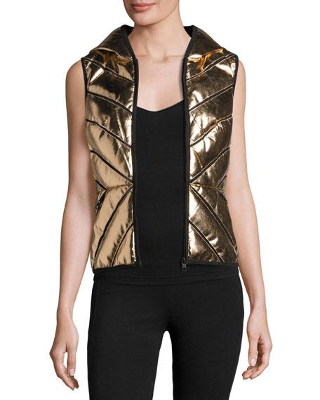 Blanc Noir Metallic Mesh-Inset Puffer Vest, Rose Gold