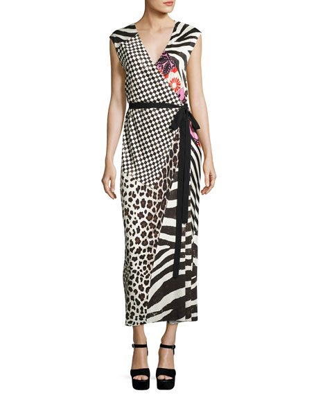 Marc Jacobs Mixed-Media Sleeveless Jersey Wrap Dress, Black