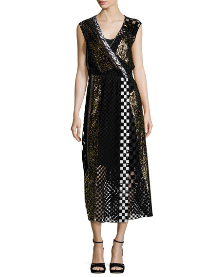 Marc Jacobs Sequined Animal-Print Midi Dress, Black