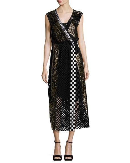 Sequined Animal-Print Midi Dress, Black