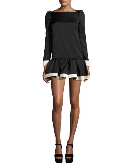 Bicolor Long-Sleeve Drop-Waist Dress, Black