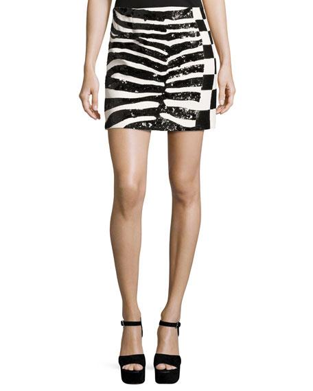 Sequined Zebra & Checker Miniskirt, Black
