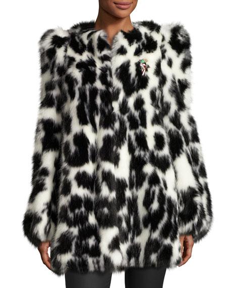 Leopard-Print Faux-Fur Coat, Black