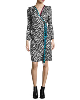 Printed Long-Sleeve Wrap Dress, White