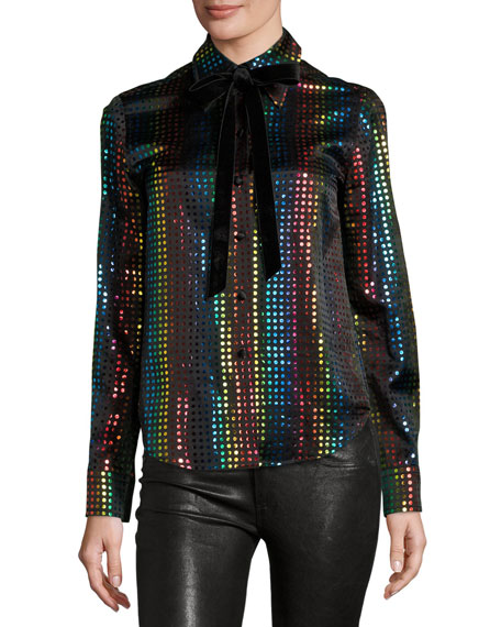 Rainbow-Dot Silk Blouse w/Velvet Bow, Black