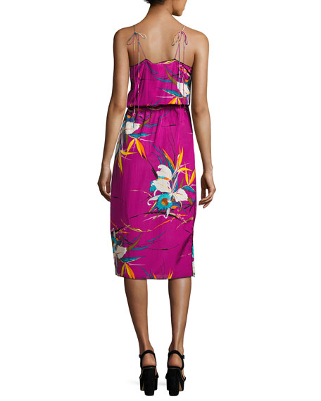Floral-Print Sleeveless Surplice Midi Dress, Magenta