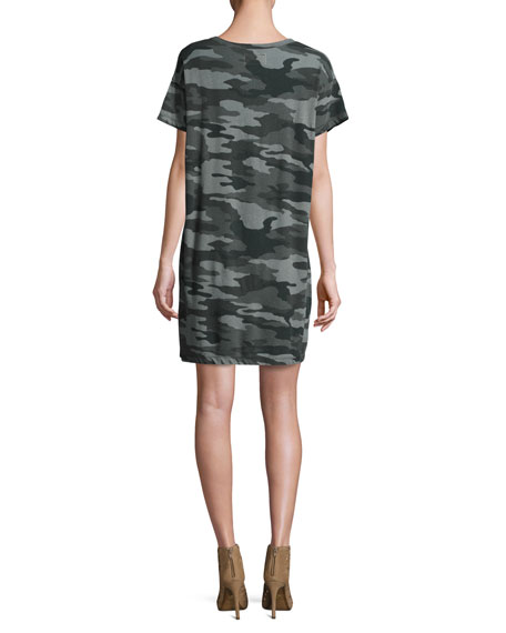 The Slouchy Scoop-Neck Dress, Black Camouflage