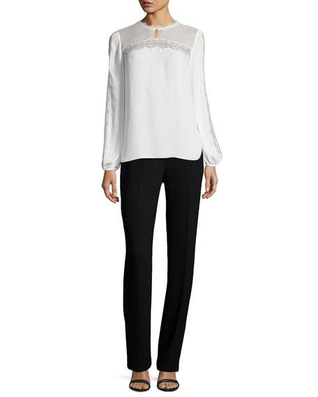 Leena Slim Stretch-Knit Pants, Black