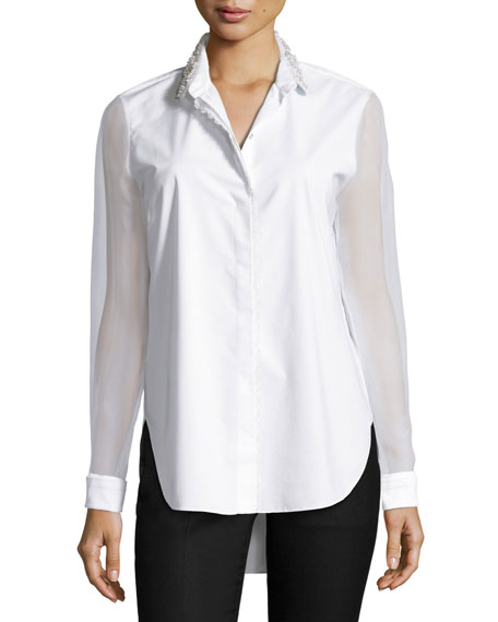 Delma Embellished Button-Front Blouse, White