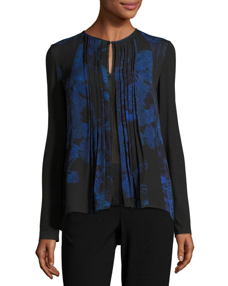 Northstar Holly Long-Sleeve Printed Silk Blouse, Bluette