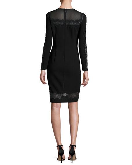 Candice Long-Sleeve Lace-Trimmed Sheath Dress, Black