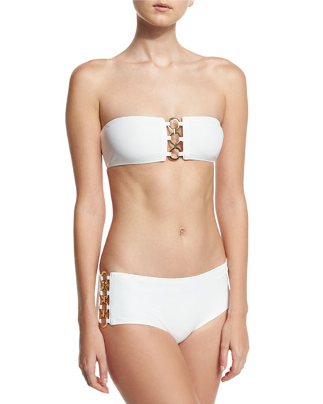 Ring-Chain Bandeau Two-Piece Swimsuit