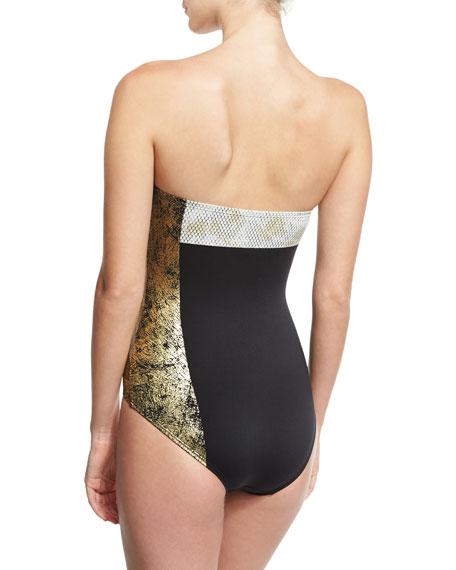 Gilded Garden Bandeau One-Piece Swimsuit