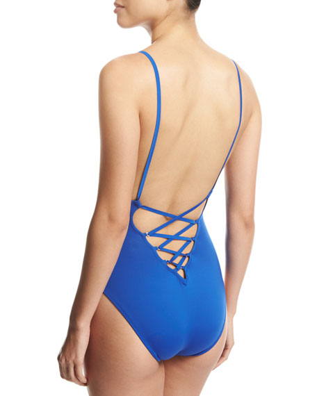 Solid Lace-Back One-Piece Swimsuit