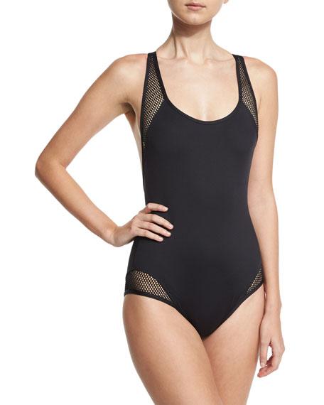 Sporty Soul Mesh Zip-Back One-Piece Swimsuit