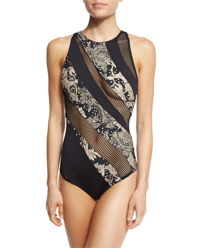 Ornamental Floral Mesh High-Neck One-Piece Swimsuit
