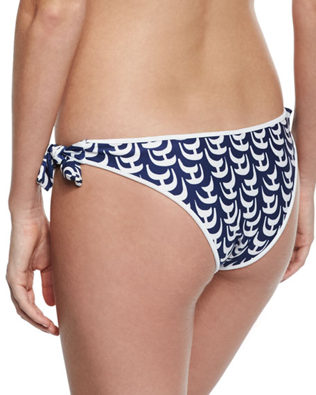 Enna Sailboat-Print Swim Bikini Bottom, Navy