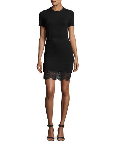 Short-Sleeve Ponte Lace-Trim Sheath Dress, Black