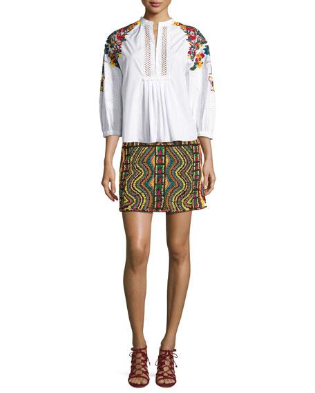 Geometric Beaded Mini Skirt, Multi