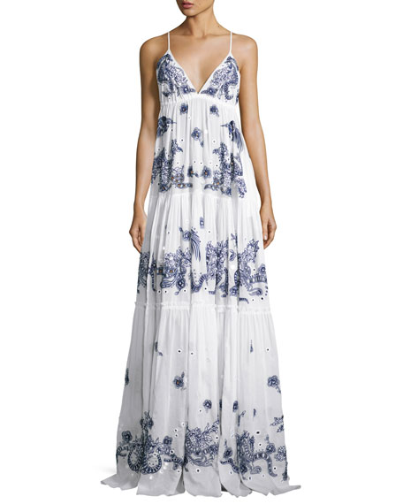 57e73cfa6343e Roberto Cavalli Embroidered Cotton Maxi Dress, White