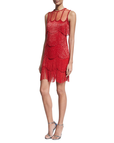 Beaded Fringe Sleeveless Cocktail Dress, Red