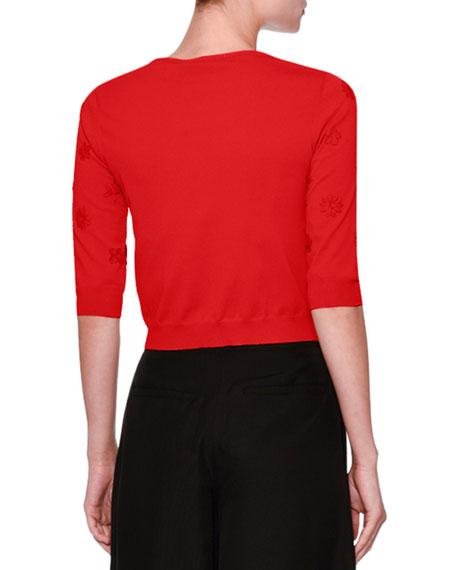 3/4-Sleeve Daisy Knit Cardigan