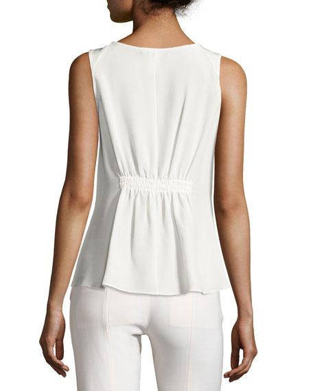 Lace-Up Drawstring Sleeveless Blouse, White
