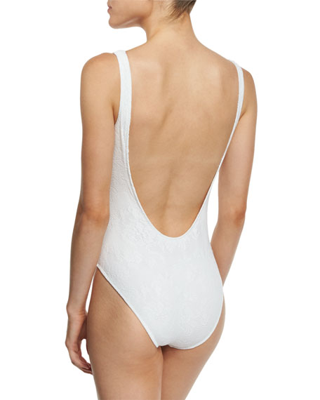 Lace Scoop-Back Classic One-Piece Swimsuit