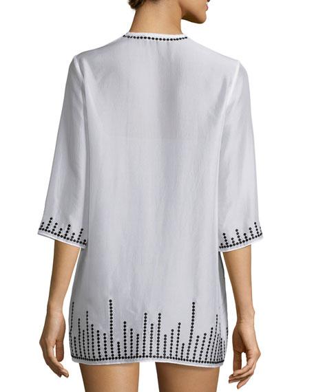 Embroidered Chiffon Short Tunic Coverup